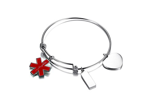 VNOX COUMADIN Stainless Steel Medical Alert ID Charms Expandable Adjustable Bangle Bracelet for Women Girl by VNOX (Image #2)