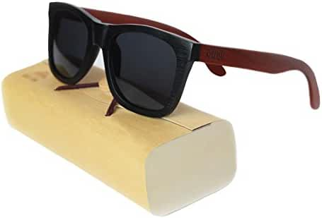 Polarized Wooden Sunglasses, Bamboo Wood Sunglasses, Wayfarer Style, 100% Real Wood by Rooted Shade