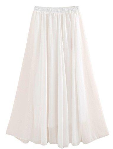 Beauty Girl Women Pure Color Stretched Waist Chiffon Long Skirts Flowy Half Dress