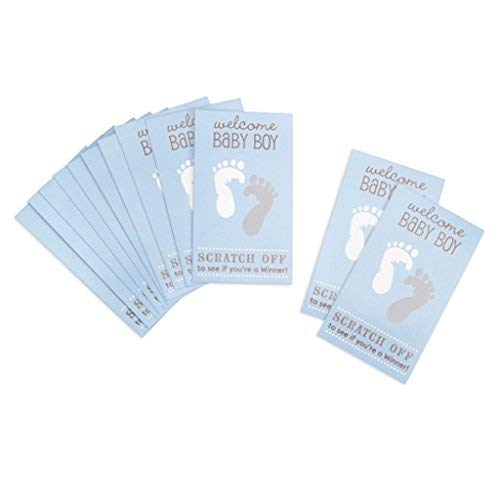 (48 Blue Baby Shower Party Game Scratch Off Cards Tickets)