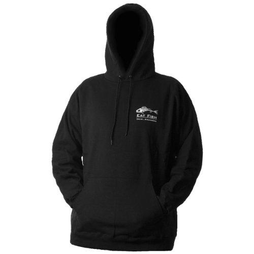 Grundens Eat Fish Youth Hooded Sweatshirt, Black, Large