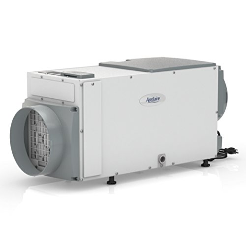 White and gray dehumidifier with an automatic start feature.