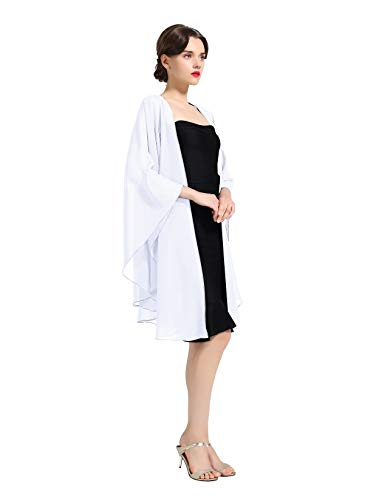 Shawl Wrap Chiffon Scarf For Women Evening Dresses Wedding Stole Black White Blue 25 Colors by BEAUTELICATE (White)