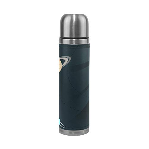 OuLian Thermos Solar System Cycling Insulated Stainless Steel Water Bottle Leak Proof Thermos Leather Cover 17 Oz by OuLian