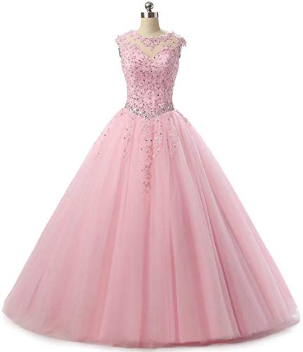 (Jingliz 2018 Lace Appliques Quinceanera Dress Evening Prom Dress Beading Sequined Prom Ball Gowns Pink)