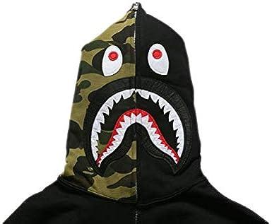Lovers* Bathing Ape Bape Shark Jaw Jacket Camo Full Zipper Hoodie Sweats Coat