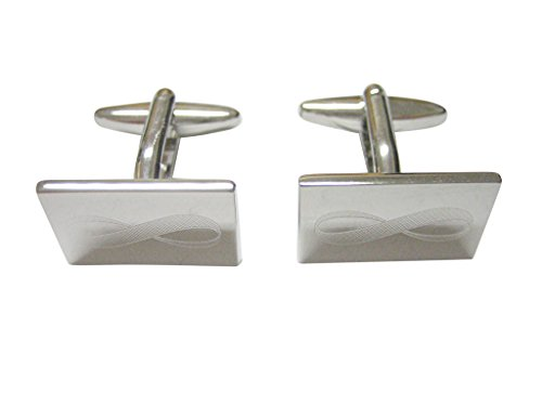 Silver Toned Etched Mathematical Infinity Google Googol Symbol Cufflinks