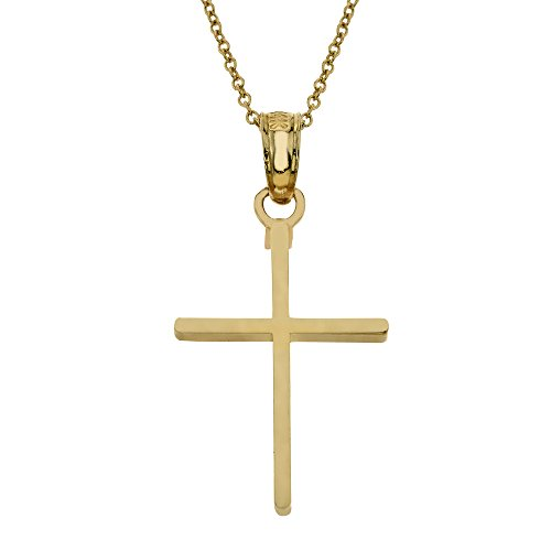 14k Gold Basic Cross Children's Necklace 16'' by Kids Gold Jewelry Source