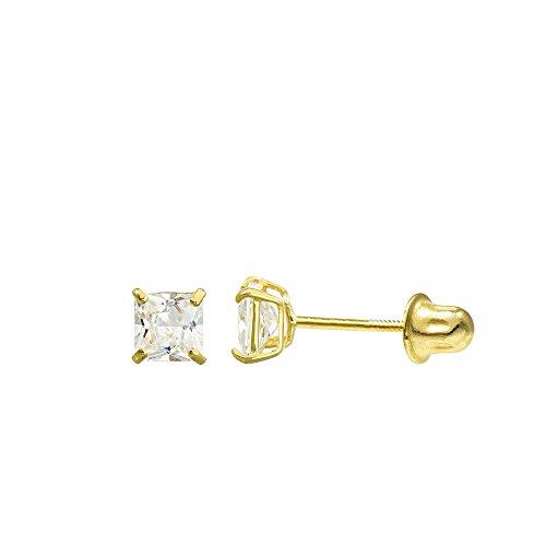10K Yellow Gold Princess Cubic Zirconia (CZ) Double Basket Screw Back Stud Earrings (4 mm, 0.66 (10k Gold Screw)