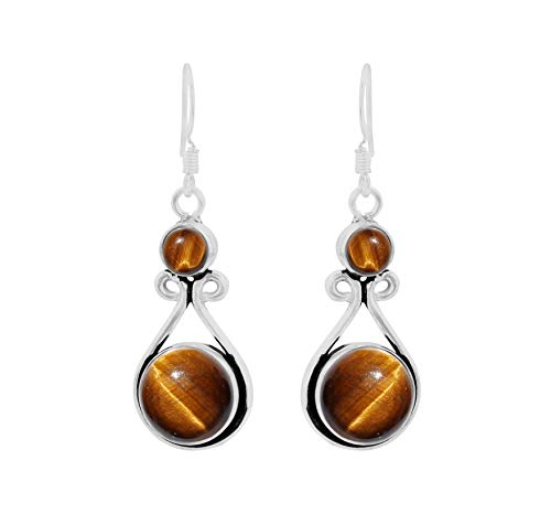 Genuine Round Shape Tiger Eye Dangle Earrings 925 Silver Overlay Handmade Fashion Jewelry For Women Girls ()