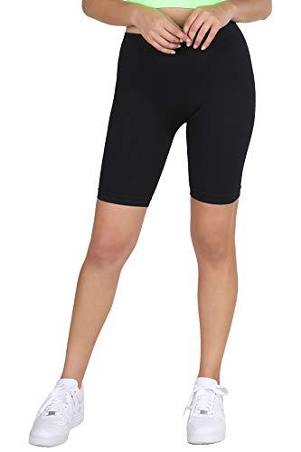 NIKIBIKI Women Seamless Ribbed Biker Shorts, One Size (Black)