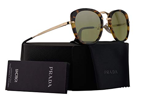Prada PR58US Sunglasses Medium Havana w/Green Mirror Gradient Silver 49mm Lens 7S0212 SPR58U PR 58US SPR - Prada Sunglasses 49mm