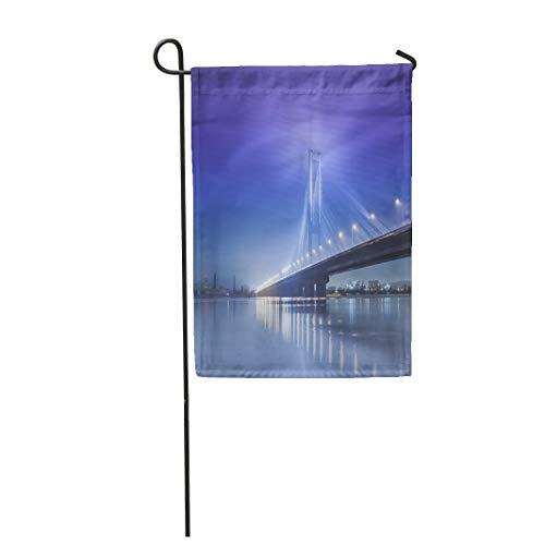 (Semtomn Garden Flag 12x18 Inches Print On Two Side Polyester Road South Bridge in Winter Ukraine Kiev River City Beach Transportation Trees N Home Yard Farm Fade Resistant Outdoor House Decor Flag)
