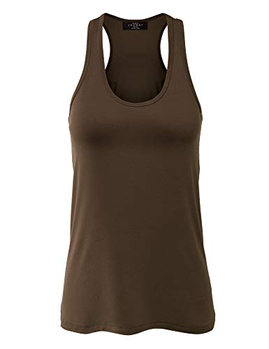 (WT924 Womens Relaxed Racer Tank Top XXXL Brown)