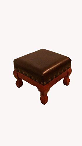 Brown Faux Leather Wood Footstool Foot Stool Rest Hassock