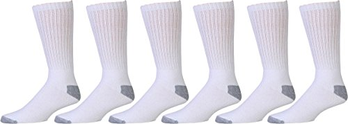 Cotton Crew Socks, 6 Pairs, Comfort Blend, Casual Daily Wear, Solid Colors, Mens or Womens Bulk (White with Gray Heel & Toe, Mens 10-13 (Shoe Size (For Bare Feet Cotton Crew Socks)