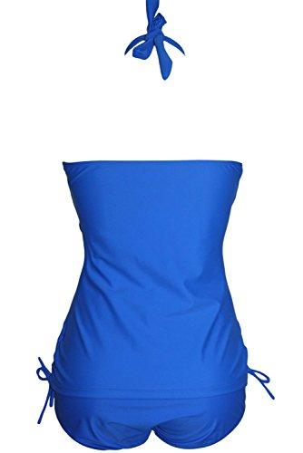 2665d3d11b Amazon.com  SunShine Blue Convertible Tie Ruched Panels 2pcs Plus Size  Swimsuit For Women  Clothing