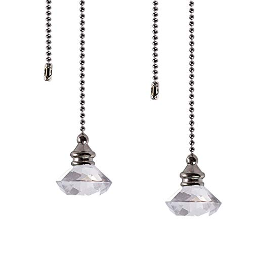 Ceiling Fan Pull Chain Set - 2 pieces Clear Diamond Fan Pull Chains 20 Inch Ceiling Fan Chain Extender with Chain Connector Home Wedding Decor Ornament Pendant