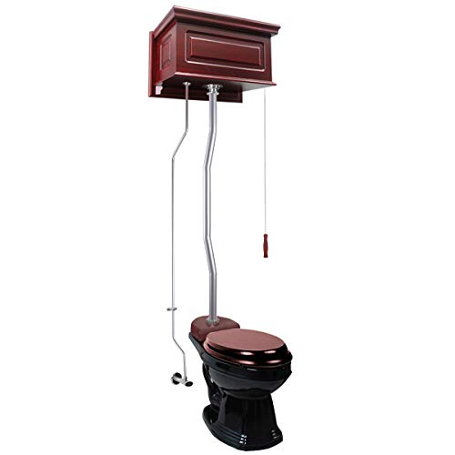 (Cherry Wood Raised High Tank Pull Chain Toilet Black Elongated Satin Top Entry Bowl Hardware Included)