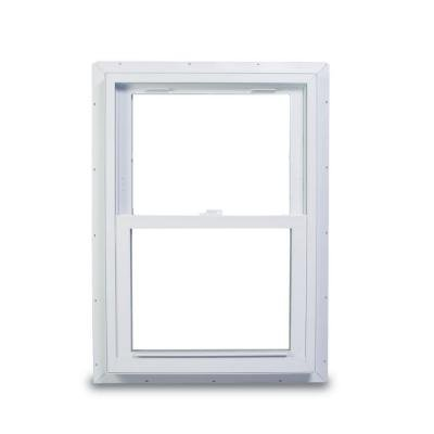 American Craftsman 70 Double Hung Fin Windows, 32 in. x 38 in., White, with LowE3 Insulated Glass, Argon Gas and ()