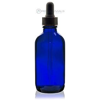 4 oz (120 ml) azul botella de cristal Ronda Boston W/cuentagotas –