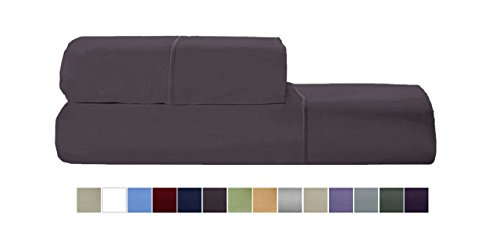- AUDLEY HOME 800tc Egyptian cotton solid sateen 2-piece Standard Pillowcases with Marrow stitch- Platinum