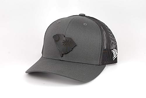 (Branded Bills South Carolina 'Midnight 8' Black Leather Patch Hat Curved Trucker -)
