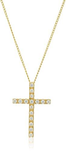 Sterling Silver and Swarovski Zirconia Cross Pendant Necklace