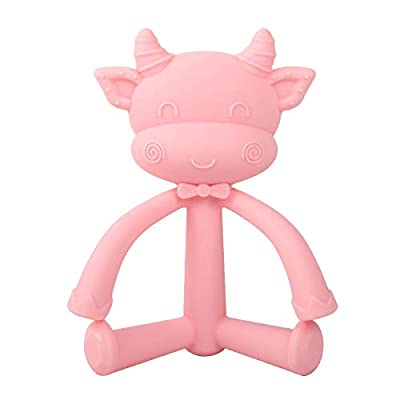 Baby Teether 3D Stereo Teeth Cute Toddler Newborn Stick Baby Teething Toy Food Grade Silicone Baby Soft Teether Baby Shower Gift (Pink, Cow) : Baby