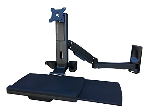 Wall Mounted Work Station Arm with Full Size Keyboard Tray and Retractable Mouse (Retractable Articulating Keyboard Tray)