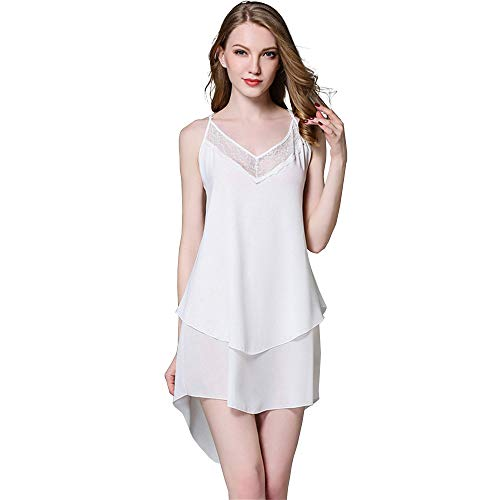 White Chiffon Chemise Nightgown with Lace Trim for Women Adjustable Straps Slip L