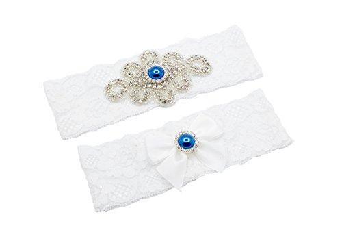 Unibuy Wedding Lace Garter Set with Blink Rhinestone Add Light Blue Pearl(Gift ()