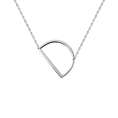 (WIGERLON Stainless Steel Initial Letters Necklace for Women and Girls Color Gold and Silver from A-Z Letter D Color Sliver)