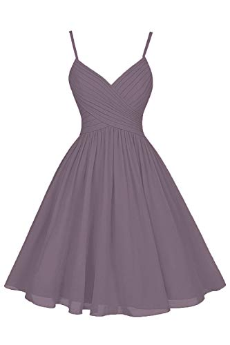 Dusty Mauve Bridesmaid Dresses Short Knee Length A-Line V-Neck Chiffon Party Dress with Pockets