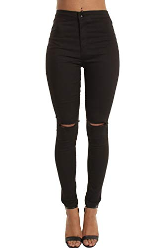 momokrom New Ladies Skinny High Waisted Tube Jeans Jeggings Stretch Denim Knee Ripped Cut Out UK Size 6-16