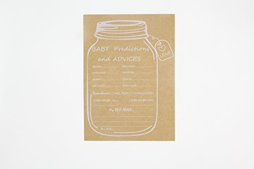 Rustic Mason Jar Baby Shower Game Predictions and Advices Cards 50 Counts by ROUNDSQUARE