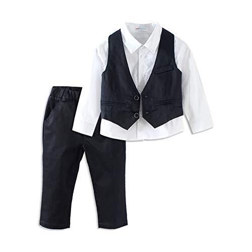 Mud Kingdom Boys Suits for Weddings White Shirts, Vests and Pants Clothes Sets