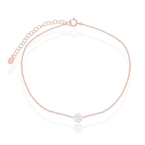 Sterling Silver Rose Gold Plated Created White Opal Round Disc 9+2'' Anklet by Beaux Bijoux (Image #4)