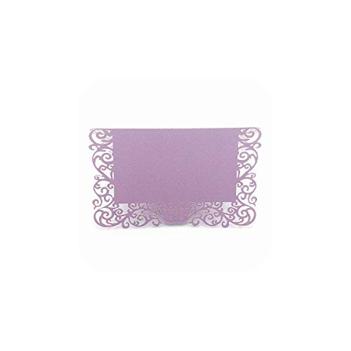 Cocktail Party Invitation Wording - 50pcs Pearlescent Lace Name Place Cards Wedding Decoration Table Decor Table Name Message Greeting Card Event Party Supplies,Purple,11x9cm