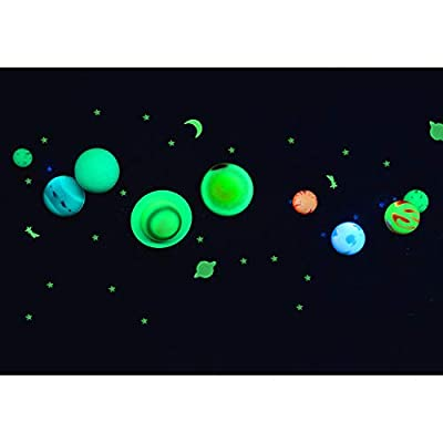 Great Explorations 3-D Solar System Glow In The Dark Ceiling Hanging Kit 3D Planets and Star Stickers Create the Milky Way Teach Science STEM, Multicolor (UG-19862): Toys & Games