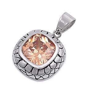 Tan//Brown /& Clear Glitzs Jewels 925 Sterling Silver Cubic Zirconia CZ Necklace Pendant