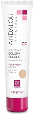 Andalou Naturals 1000 Roses CC Color + Correct Sheer Nude SPF 30, 2 Ounce