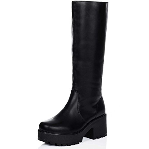 Spylovebuy Platform Block Heel Knee HIGH Biker Boots Black Leather Style SZ 8