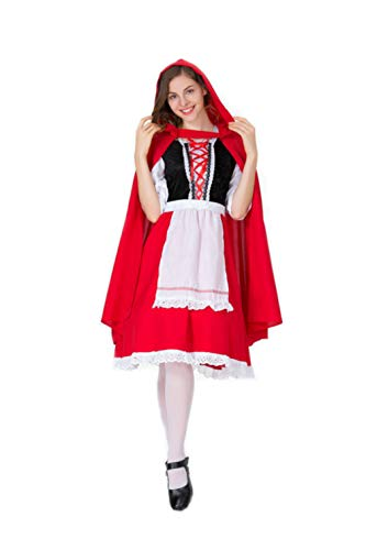 CMBro Women's Little Red Riding Hood Costume Knee Length Dress Fit Halloween Cosplay Party (Small) ()
