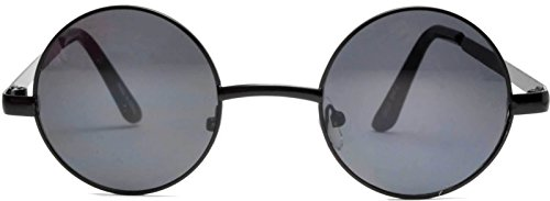 Retro Round Circle Colored Vintage Tint Sunglasses Metal Frame OWL (43mm_Black_Smoke, PC - Circle Hippie Sunglasses