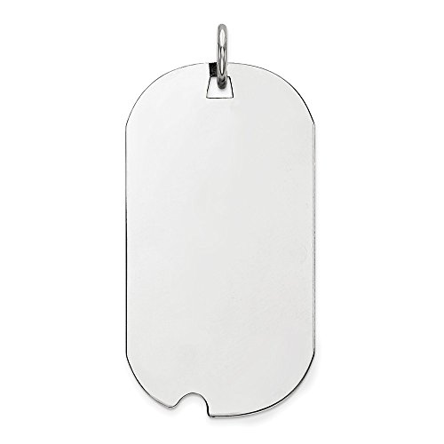 Mireval Sterling Silver Engraveable Dog Tag Polished Front With Satin Back Disc Charm (33 mm x 15 mm)