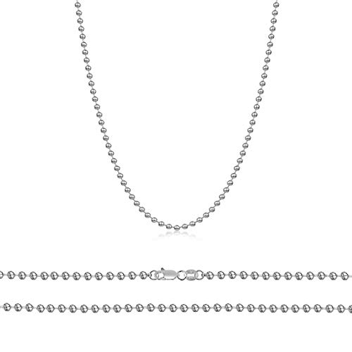 Orostar Sterling Silver 3MM Round Ball Bead Chain Italian Necklace - 16-30 Inch - Made in Italy (20, 3MM)