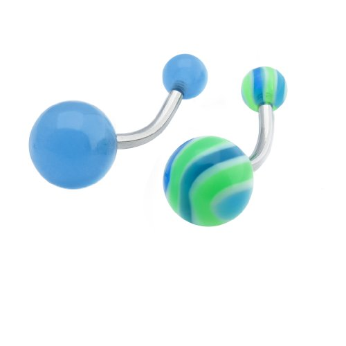 Set of 2: 1 Blue Glow in the Dark & 1 Matching Blue and Green La La Wave Belly/Navel Rings - 14 GA