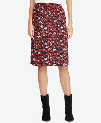 Ralph Lauren Women's Floral Pocket Skirt (8, Red Multi)