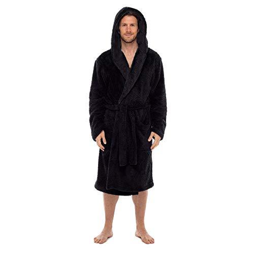 Regency New York Fleece Robe (Small/Medium, Black Hooded)